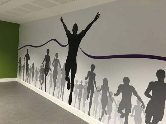 Printed wall graphic of runners