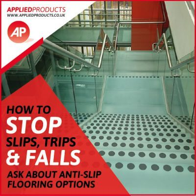 Stairs with anti-slip strips
