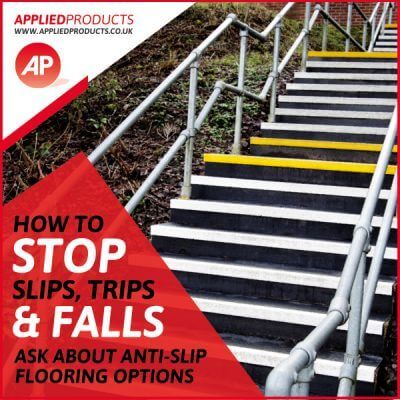 Steps with anti-slip strips