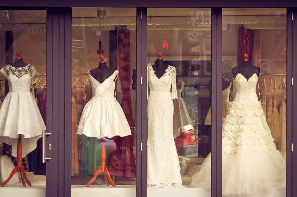 a dress shop window