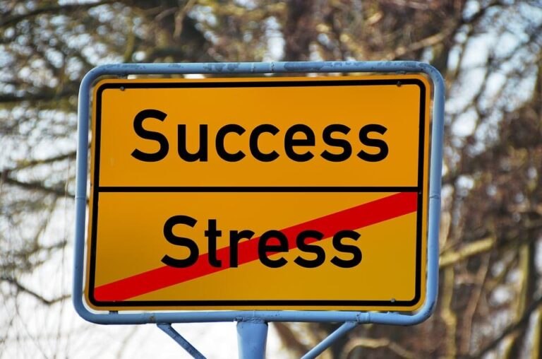 A sign saying success and stress with a line through stress