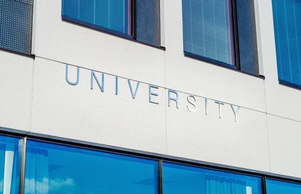 A university sign on a building