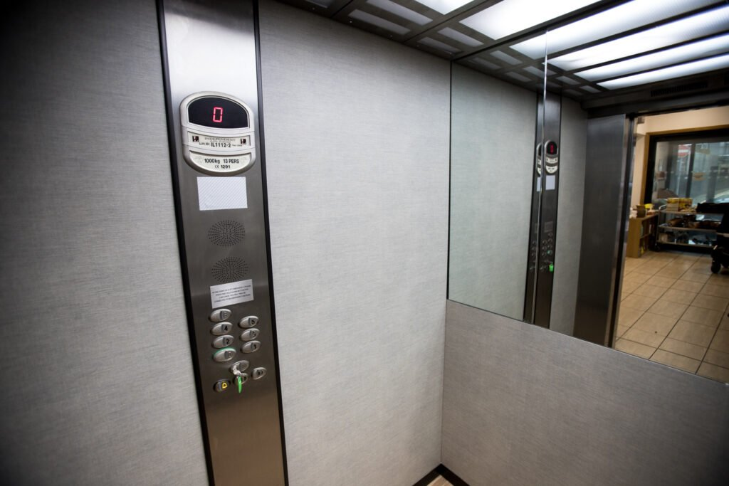 a lift interior before