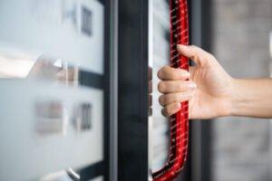 BioSilver self-adhesive film covering a door handle