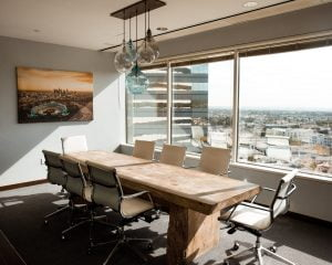 an office with window film
