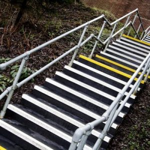 Anti-slip strips on stairs