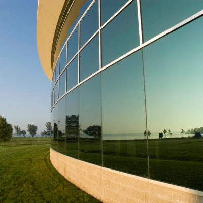 Glass Building Relection of Park