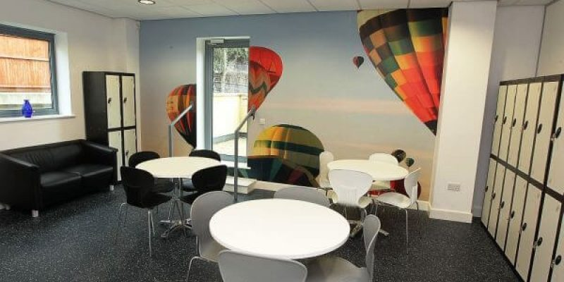 office with printed wall graphic